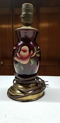 Early Vintage Antique Ruby Red Glass Hand Painted Rose Budoir Dresser Lamp As-Is