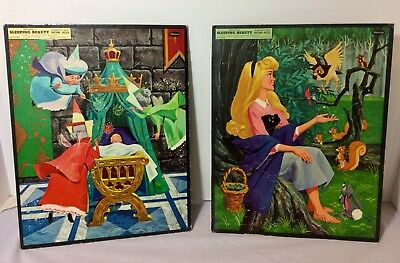 Lot Of 2 Sleeping Beauty, Walt Disney - 1958 - Vintage Picture Puzzles Whitman
