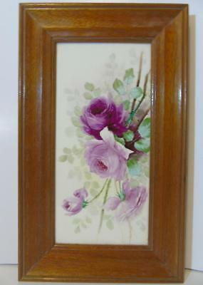 Rare Beautifully Framed American Encaustic Tile Limited Hp Roses Zanesville Ohio