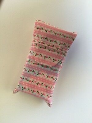 Tissues case/ cover Pocket/ bag size Fabric Pink floral Mum Girl Gift Handmade