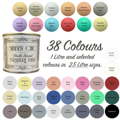 Shabby Chic Chalk Paint For Furniture 1 Litre & 2.5 Litres 38 Colours!