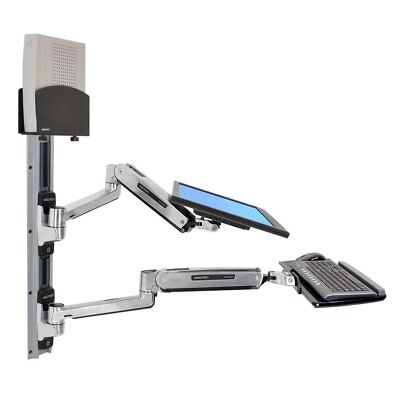 Ergotron 45-359-026 LX Sit-Stand Wall Monitor keyboard Mount System + CPU Holder