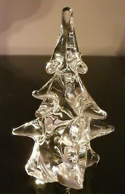 "Vintage Crystal Glass Christmas Tree Charles Schneider France 6"" Tall"
