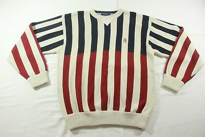 Vintage Tommy Hilfiger Red White and Blue Vertical Striped Sweater Size Large