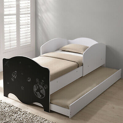 Kids Children White Wooden Single Bed Storage Guest Pull Out Trundle Chalkboard