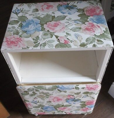 MID 20thC RETRO PADDED BEDSIDE/BATHROOM CABINET-CABBAGE ROSE VINYL COVERING