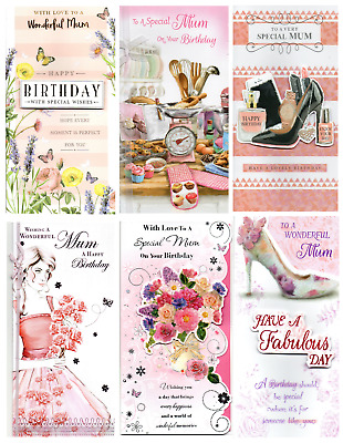 MUM Happy Birthday Luxury Traditional Greetings Cards - Various Designs