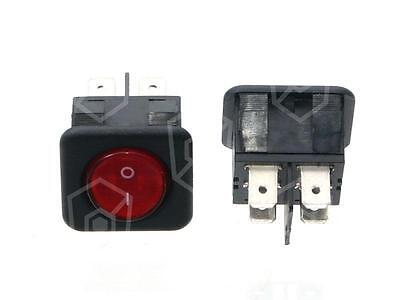 Rocker Switch 2-polig 250V 2NO Red Connection Faston 6,3mm Illuminated 16A