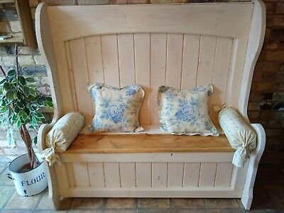 Solid Pine High Back Settle Hall Seat Monks Bench with Under Seat Storage