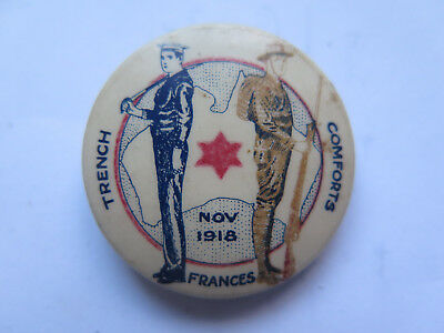WORLD WAR I TINNIE BADGE FRANCES TRENCH COMFORTS FUND 1918 SAILOR DIGGER PICTURd