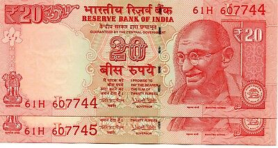 INDIA 20 Rupees 2017 P NEW Letter L x 2 Consecutive UNC Banknotes