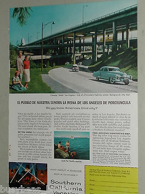 1957 Southern California Tourism advertisement Los Angeles highway classic autos