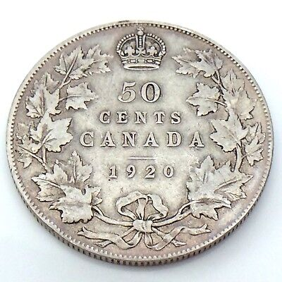 1920 Narrow 0 N0 Fifty 50 Cent Silver Canada Circulated Half Dollar Coin G958