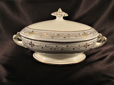 Lovely Antique Old Vieux Paris Porcelain Oval Covered Serving Bowl ca. 1850 Exc
