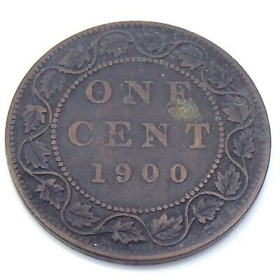 1900 No H Canada 1 One Cent Large Copper Penny Circulated Canadian Coin G961