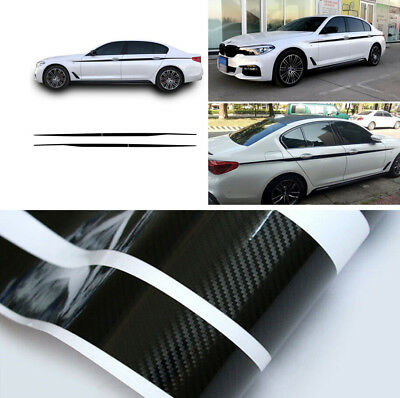 2PCS Carbon Fiber Look Car Vinyl Decal Side Stripes Decals Sticker for BMW SUV