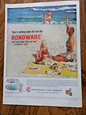 1941 Continental Can Company Ad Family Swimming at Beach Bondware Throw-Aways