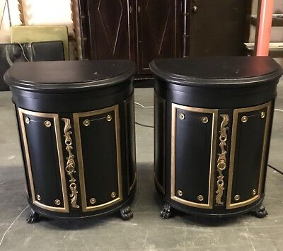 PAIR OF EBONISED AND PARCEL-GILT BOW-FRONTED CABINETS 20th CENTURY