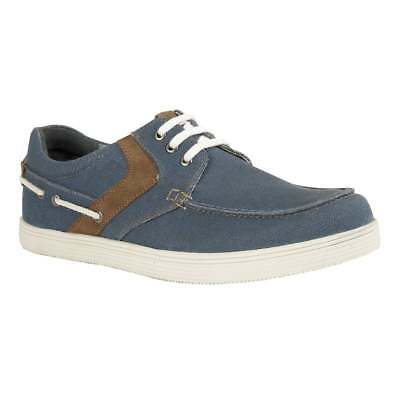 Men's Lotus Denim Blue Gladstone Canvas Lace-Up Shoes UK 10