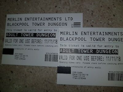 2 BLACKPOOL TOWER DUNGEON tickets - Valid until 11th Nov 18 - Blackpool Tickets