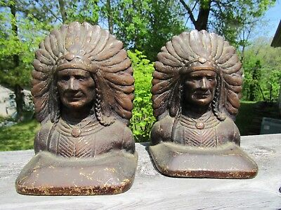ANTIQUE 1920's CAST IRON ARTS AND CRAFTS ART DECO INDIAN HEAD BOOK ENDS #44