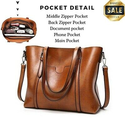 da529f226b15 WOMEN S SHOULDER BAGS LEATHER Large Lifetime Business Brown Breased Tote Bag