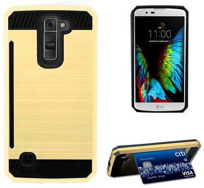 GOLD RUGGED TPU RUBBER HARD SHELL CASE STAND COVER FOR LG K7 and LG TRIBUTE 5