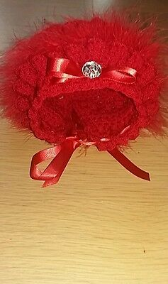 RED baby girl crochet bonnets with red marabou and ribbon  all sizes
