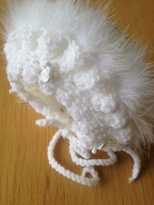 3-6 months  Baby Girl White Crochet Bonnet With White Marabou And White Rosebuds
