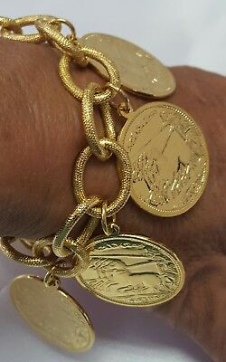 Vintage Yachi Ny Goldtone Alexander The Great Coin Bracelet 7.5""