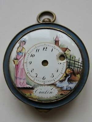 Unusual Antique Brass And Porcelain Powder Compact With Clock