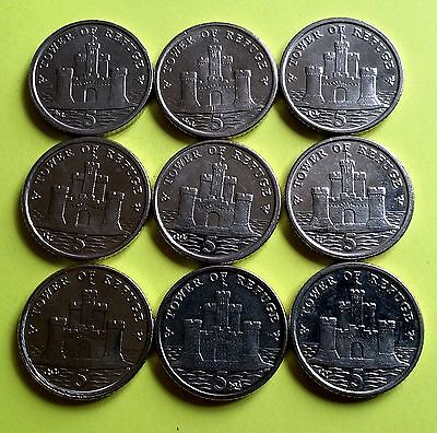 IOM Manx Isle of Man 5 Pence Coins Choose Your Year 1971-2017 (Caps Optional)