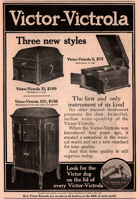 1910 D Ad Victor Victrola 3 New Styles Dog On The Lid