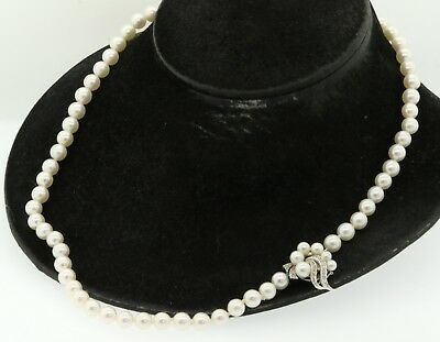 Vintage 14K white gold .36CT diamond 7.6 to 7.8mm pearl strand necklace