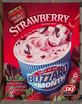 Dairy Queen Promotional Poster Chocolate Dipped Strawberry Blizzard dq2