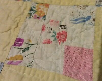 SALE!!! Antique Postage Stamp Patchwork Quilt YELLOW Blocks 1930s-1940s Twin