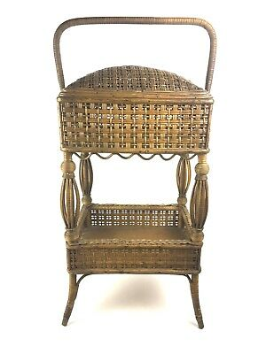 Antique Large Victorian Wicker Cane Sewing Basket