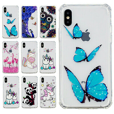 For iPhone XS/XS Max/7 8 Plus X Cute Painted Clear Soft TPU Silicone Case Cover