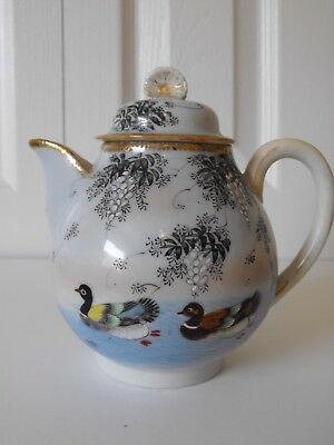 Handpainted Antique Japanese Duck Teapot Swimming Wisteria Moriage