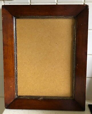 ANTIQUE EARLY 19C MAHOGANY PICTURE FRAME with gilt slip and backing card