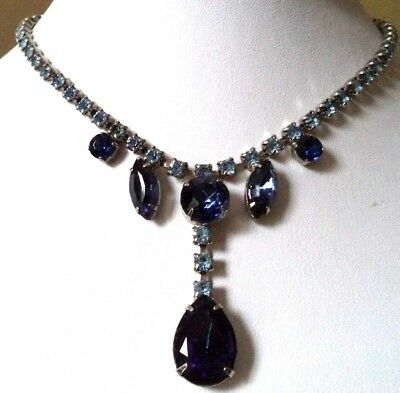 "Stunning Vintage Estate High End Blue Rhinestone Silver Tone 15"" Necklace! G133S"