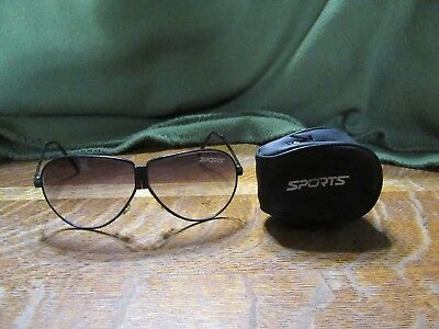 Older Metal Folding Sunglasses-Sports-Aviator Style-Men's-In Zipper Case