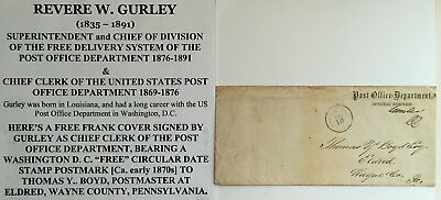 Post Office Dept Free Rural Delivery Chief Clerk Signed Free Frank Letter Cover!
