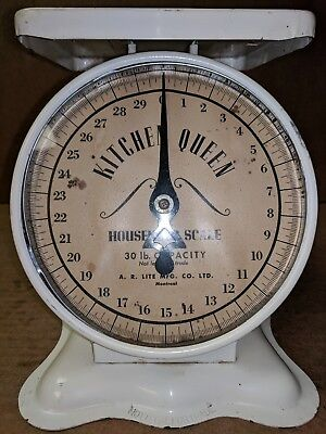 Vintage A.R. Lite Mfg. KITCHEN QUEEN 30Lb. Household SCALE Family Utility Canada