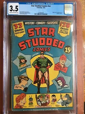Star Studded Comics #NN CGC 4.0 OW/W 1945 Captain Combat Census 8 SQRBND GOLD