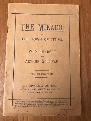 Early 20th Century, THE MIKADO, Chappell & Co Ltd, London, D'Oyly Carte, Opera