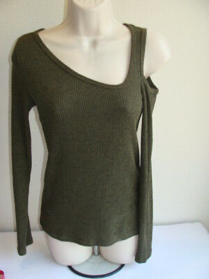 8d3bbfa2f96b45 LUCKY BRAND OLIVE Green Ribbed one Cold Shoulder top size SMALL ...