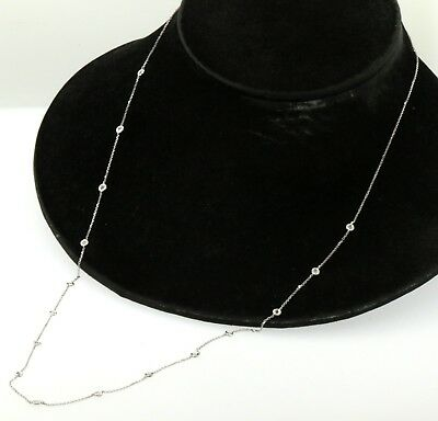 """14K white gold elegant .48CT diamond by the yard X-long 28"""" chain necklace"""