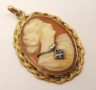 Vtg 14K Gold Ornate Diamond Cameo Pendant Pin Victorian Relief Carved Shell