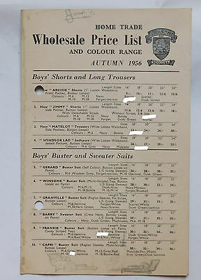 Vintage 1956 catalogue price list Windsor Woollies 1950s childrens clothing c